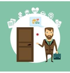Insurance agent rings the doorbell vector