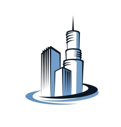 Modern city and communications tower vector image