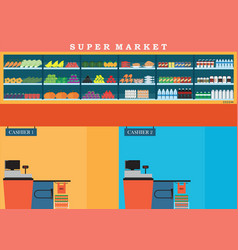 supermarket with fresh food on shelves and vector image vector image