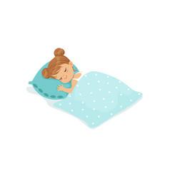 sweet little girl sleeping on her bed cartoon vector image