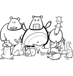 wild animals group cartoon for coloring book vector image
