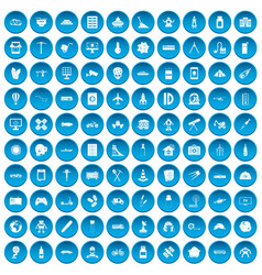 100 development icons set blue vector