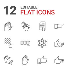 12 finger icons vector