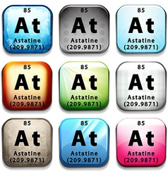An icon showing the chemical astatine vector