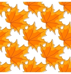Autumnal orange maple leaves seamless pattern vector image