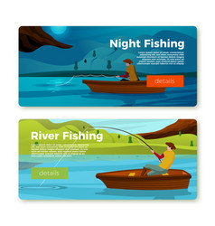 banners set - fisherman on boat day night vector image