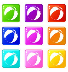 Beach ball set 9 vector
