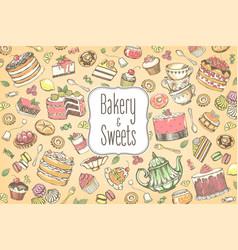 big collection hand-drawn sweet food and tea vector image