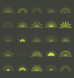 big set of retro sun burst shapes 25 half vintage vector image