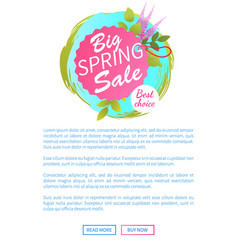 Big spring sale web poster best choice advert vector