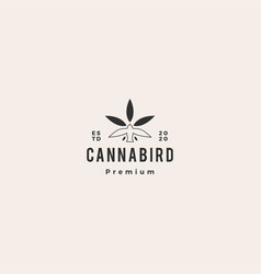 Bird cannabis logo icon hipster vintage retro vector