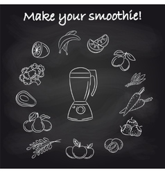 Blender and smoothie ingredients on chalkboard vector