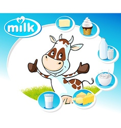 Blue design with dairy products and funny cow vector