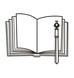 book and pen education symbol empty diary and vector image