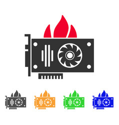 burn video graphics card icon vector image