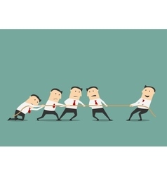 Businessman tug of war with group vector image