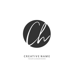 C h ch initial letter handwriting and signature vector