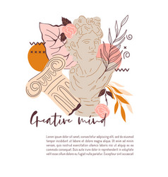 Card with decorative image statue greek god vector