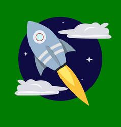 Cartoon rocket on space background vector