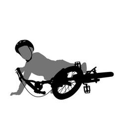 Child fell off bike silhouette vector