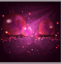 Christmas crimson red design with glass balls vector