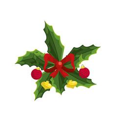 christmas wreath garland with christmas design vector image