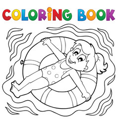Coloring book water sport theme 4 vector