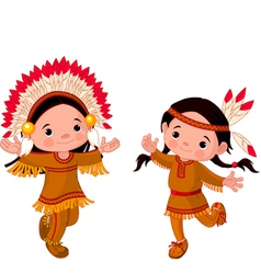 cute couple american indians children dancing vector image