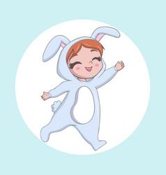 Cute little girl wearing a rabbit costume vector