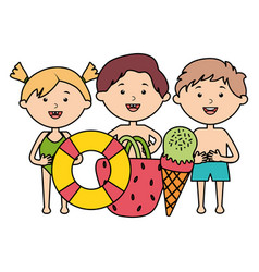 cute little kids group with set accessories vector image