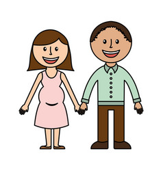 Cute parents couple icon vector