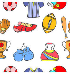 Doodle sport equipment pattern style collection vector