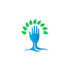 eco green hand tree logo symbol vector image