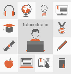 elearning icon set vector image