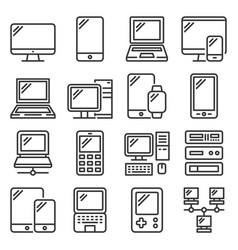 electronic and computer devices icons set vector image