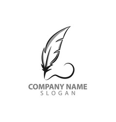 feather logo design template with eps 10 isolated vector image