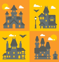 Flat design haunted house set vector