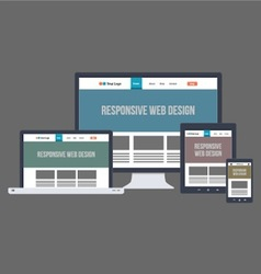 Flat responsive website design vector