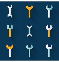 Flat wrench icon set over blue vector