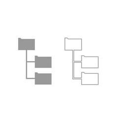 Folder structure icon grey set vector