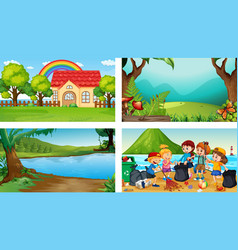 four different scenes with children cartoon vector image