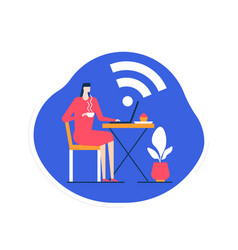 free wifi - flat design style colorful vector image