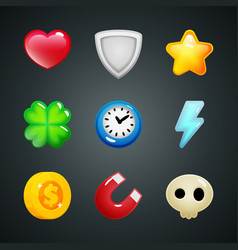 Game elements icons heart shield star clover vector