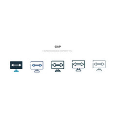 Gap icon in different style two colored and vector