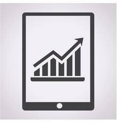 Graph in tablet pc icon vector