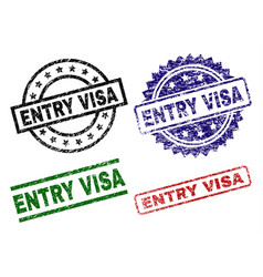 grunge textured entry visa stamp seals vector image