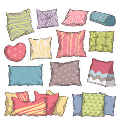 Hand drawn colorful pillow and cushion set with vector
