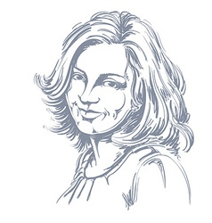 Hand-drawn portrait of white-skin smiling woman vector