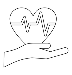 Hand holding heart icon outline style vector