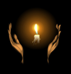 Hands holding a burning candle in dark vector